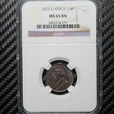 1923 South Africa 1/4 Penny NGC MS65 BN - Farthing (74277)