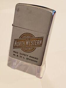 1962 Vintage Zippo Lighter NORTHWESTERN Chicago Railway Railroad Train Safety