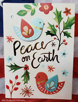 NEW Embellished 12 Christmas Holiday Cards & Envelopes Peace on Earth Dove Holly