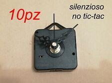 10 pz MECCANISMO OROLOGIO SILENZIOSO NO TIC-TAC parete muro quarzo movimento
