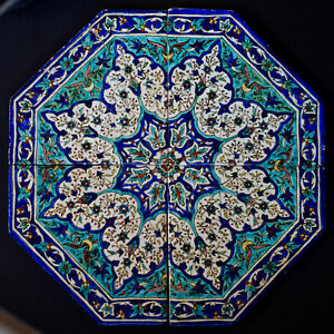 Fine antique octagonal Kutahya tile table top as found - ?Ohannessian