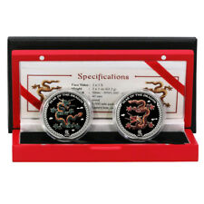 Palau Year of the Dragon $5 2012 .999 Silver Colored Coin Proof Set Mint Box & C