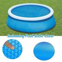 1x Pool Solar Cover Round Swimming Paddling Family Set 6/8/10/12/15ft Blue