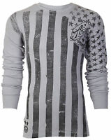 ARCHAIC AFFLICTION Mens LONG SLEEVE THERMAL Shirt NATION American USA FLAG $58 c