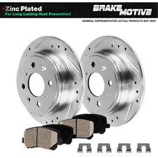For 2001 2002 - 2005 Mazda Miata Rear Drill Slot Brake Rotors & Ceramic Pads