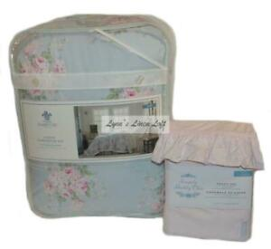 SIMPLY SHABBY CHIC Misty Blue TWIN COMFORTER SHEET 5P SET NEW Floral Roses