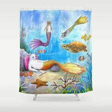 Shower Curtains Bathroom Decor Cat Mermaid 31 Sea Turtle Ocean Blue art LDumas