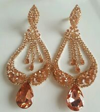 BRIDAL EVENING ROSE GOLD RHINESTONE CRYSTAL CHANDELIER TEARDROP POST EARRINGS