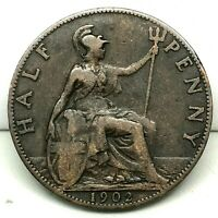 1902 GREAT BRITAIN ,EDWARD VII (1/2) HALF PENNY, BRONZE COIN - KM# 793.2