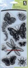 INKADINKADO Clear Stamps GEM STONE INSECTS Butterfly Dragonfly Spider