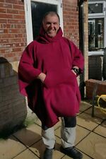 More details for red fleece hooded blanket poncho / camp blanket