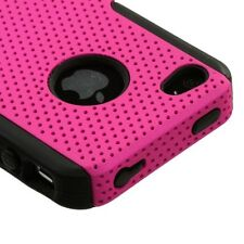 Pink MESH Hybrid Hard Silicone Rubber Gel Skin Case Cover for Apple iPhone 4 4S
