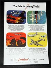 1945 OLD WWII MAGAZINE PRINT AD, LOCKHEED P-38, FORK-TAILED DEVIL, SAY GERMANS!