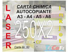 Carta CHIMICA autocopiante A4 250x2 * CB CF * carbone ddt ricevute stampa