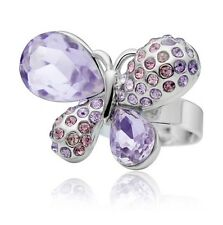 Beautiful Silver & Light Purple Violet Butterfly Re sizable Adjustable Ring FR58
