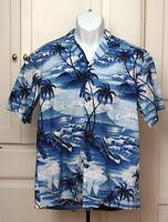 Hawaiian Shirt - Sz L - Hawaiian Scene, Diamond Head, Tiki, Boat Royal Creations
