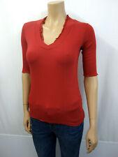 MARCCAIN MARC CAIN Designer Stretch Shirt Gr.38 N3 V-Ausschnitt Rot 3/4 Arm