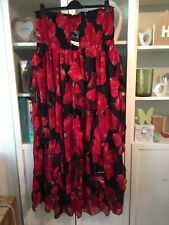 M58 Yours Plus Sz 24 Scarlett Red&Black Frilled Chiffon Floaty Maxi Dress NWT
