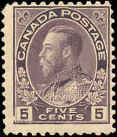 Mint H Canada 5c 1922 F Scott #112 King George V Admiral Issue Stamp