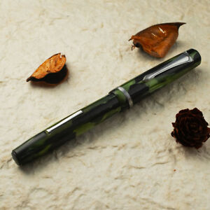 Vintage 1930's Japanese MARBLE GREEN Ebonite Semiflex Fine Nib Fountain Pen