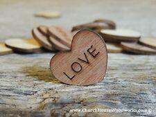 "100 qty 1"" LOVE Wood Hearts Table Confetti Wooden Wedding Decor Embellishments"