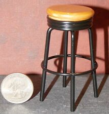 Dollhouse Miniature 1950's Black and Oak Bar Stool 1:12  one inch scale E44