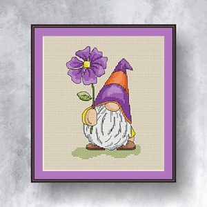 FLOWER GNOME - Counted cross stitch kit (with DMC threads)