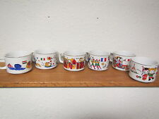 Set of 6 Porcelain  HELLERWARE CUPS  brightly painted nations, flags and people