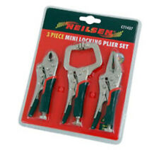 3 Piece Mini Locking / Mole Grip Wrench Set - C Clamp Needle Nose Curved Pliers