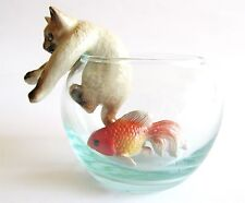 Siamese Cat on Glass Bowl with Fish Miniature Cat Figurine (1) Climbing out