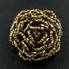 """1 1/2"""" ADJUSTABLE SIZE 6-11 BRASS FLOWER HANDCRAFTED SEED BEADS ring"""