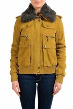 Just Cavalli 100% Sheepskin Brown Full Zip Women's Basic Jacket US M IT 42
