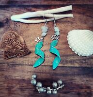 Crystal Healing Amazonite Blue/Green Silver Feather & Star Charm Drop Earrings
