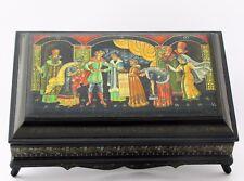 Boîte à bijoux collection décor 27x17 miniature laquée PALEKH peint à main signé
