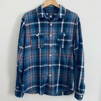 J Crew Sportsman Outfitters Blue Plaid Flannel Shirt Mens Size Large L