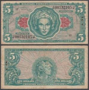 MPC Series 641, 5 Dollars, ND (1965), VF++ (set of stapleholes at right), P-M62
