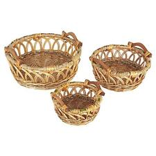 Household Essentials Robin Decorative Wicker Basket, 3 Pc Set, Natural Brown