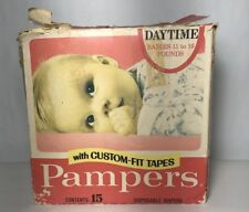 Vintage Pamper Diapers Pink Box 11/15 Nice Advertisement $1.93 Original Price