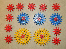 LEGO vintage cogs gears technic large yellow blue red 9 15 21 tooth
