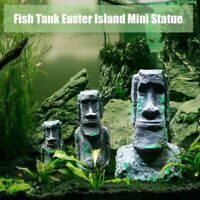 Easter Island Mini Statue Accessory Pipe Fish Tank Aquarium ation Ornament#