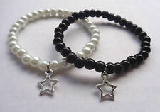Black / White Elastic Glass Pearl Bead Bracelet Tibetan Silver Star Charm - NEW