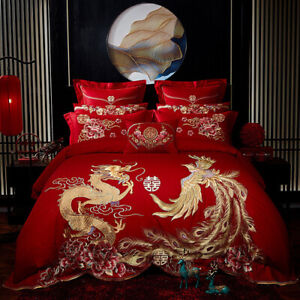 Red Luxury Gold Embroidery Chinese Wedding Cotton Bedding Set 2020 Home