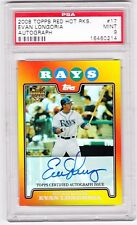 08 TOPPS RED HOT ROOKIES EVAN LONGORIA AUTO GRADED PSA9