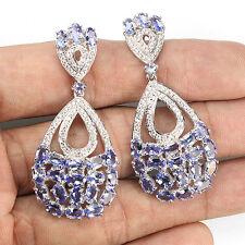 Sterling Silver 925 Stunning Large Genuine Natural Tanzanite Dangle Earrings