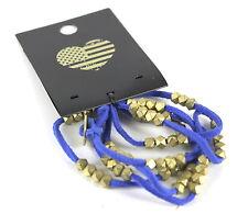 BLUE BEADED LEATHER BRACELET FASHION JEWELRY WRISTBAND GOLD METAL