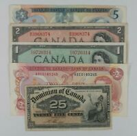 1900-1979 Canada 5-Notes Currency Kit Dominion De Canada & Banque