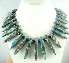 Beautiful Sea Sediment Jasper &agate Handmade Gemstone Jewellery Necklace H3