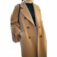 Womens Lapel Collar Double-Breasted Oversize Outwear Coat Fashion Slim Trench
