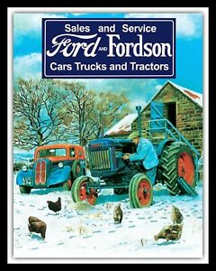 FORD & FORDSON FARM SERVICES CARS TRUCKS TRACTORS FARMER METAL PLAQUE SIGN 1222