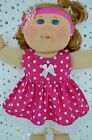 "Play n Wear Doll Clothes For 14""Cabbage Patch HOT PINK POLKA DOT DRESS~HEADBAND"